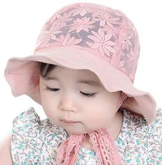 75ade97bba926 Baby Kids Girls UV Protection Floral Lace Wide Brim Sun Hat with Strap
