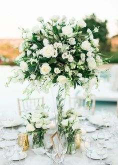 Take a look at the best green wedding flowers in the photos below and get ideas for your wedding flowers! taupe bridesmaid dresses mountain wedding heavy greenery wedding bouquets white and green wedding colors. Wedding Bouquets By Color Wedding Table Centerpieces, Wedding Flower Arrangements, Flower Centerpieces, Wedding Decorations, Centerpiece Ideas, Mod Wedding, Floral Wedding, Wedding Flowers, Wedding Ideas