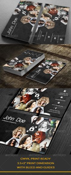 """Creative Business Card #GraphicRiver Creative Business Card You can put 14 photos. 2 Full PSD files. Easy Editable Well Organized Layer CMYK, Print Ready 3.5×2"""" Print Dimension Model picture are not included within the final design files. Thank you You can look at this Created: 14August13 GraphicsFilesIncluded: PhotoshopPSD Layered: Yes MinimumAdobeCSVersion: CS5 PrintDimensions: 3.5x2.5 Tags: art #business #businesscard #creative #elegance #image #images #photogra..."""