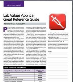 App Review by Lisa Mueller, DPT-Pocket Lab Values.Pinned by SOS Inc. Resources @sostherapy http://pinterest.com/sostherapy.
