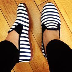 Stripes shoes legs