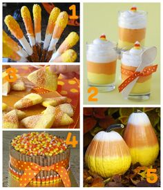 compilation of candy corn treats and decor..i'm trying those pumpkins next year  @Brenna Farquharson Michels