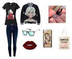 """Marilyn Monroe"" by carolinaserrano734 ❤ liked on Polyvore featuring River Island, Tri-coastal Design, claire's, Ray-Ban and Lime Crime"