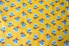 Vintage Fabric - Provence French Country Yellow and Blue Flowers