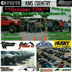 All right everyone, we are doing a meet at KMS with several groups. Let's share this up  #kmscountry #kmsautorepair #kms #kossmotorsports #kmsdrift #broadrivermudbog #kmstrikedrift #4x4time #mudding #mudtime #roughcountry #atturo #dodge #4x4wars #chevy #chevylifted #tahoe #nfab #fabfours #jeep #jeepfun #edge #superchip #kmscountrygirl #kmsrecovery #kendamt #kmslife #huskyliners  Follow us on instagram kms_drift_kms_country
