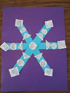 Snowflakes craft for kids!  Practice shapes. #winter crafts for kids