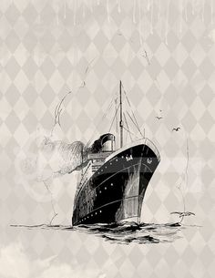 Ocean Liner Image digital download Image No.478 by TanglesGraphics, $1.00