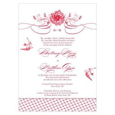 French Whimsy Wedding Invitation features a rustic design including lattice, birds, flowers, and flourish accents. It is available in ten colors.  White envelopes are included with your purchase.