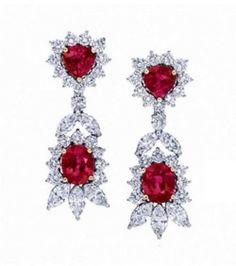 Natural Oval & Heart Red Ruby Diamond Drop/Dangle Chandelier Earrings Platinum