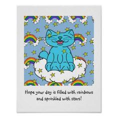 Milo Rainbows & Stars Poster - kids kid child gift idea diy personalize design