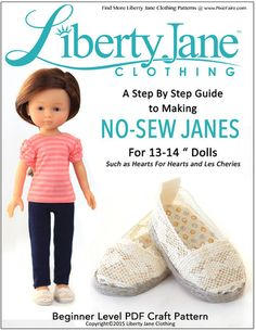 NO SEW JANES SHOES FOR HEARTS FOR HEARTS AND LES CHERIES DOLLS