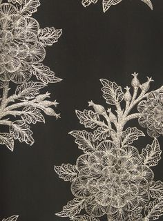 Ajoure Floral Wallpaper Black wallpaper with inlayed floral glitter print.