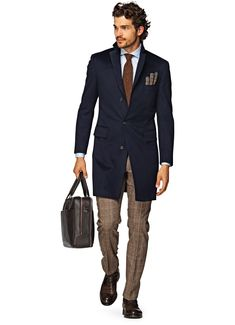 Navy Overcoat, Plaid pants, Brown leather briefcase and shoes   Suitsupply Online Store
