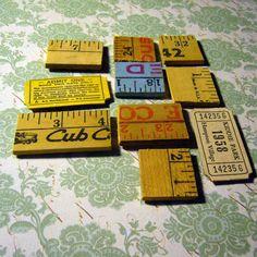Vintage wooden ruler magnets  - eco decor upcycled & reused