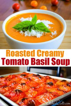 This CREAMY TOMATO BASIL SOUP is seriously the best! So delicious and easy to make! Use all those fresh garden tomatoes in this roasted creamy tomato basil soup recipe. The ultimate comfort food. This soup is awesome any time of year but especially when Fresh Tomato Soup, Creamy Tomato Basil Soup, Roasted Tomato Basil Soup, Fresh Tomato Recipes, Roasted Tomatoes, Chili Recipe With Fresh Tomatoes, Creamy Tomato Bisque Soup Recipe, Vitamix Tomato Soup, Antipasto