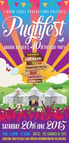 Festival Themed 40th Birthday Invite http://www.wedfest.co/festival-themed-40th-birthday-party-invite/