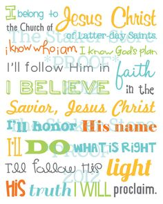 'I Belong' LDS primary song subway art  (boy version) - 8x10 print by TheStakerStore on Etsy