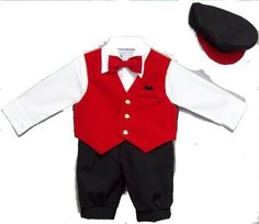 Infant Boy's 5-pc Knickers Outfit Red Velvet Vest, Bow Tie, Hat - 3 to 24 Months, http://www.amazon.com/dp/B0060NLUFK/ref=cm_sw_r_pi_awdm_RU-Cub1SK9TH9