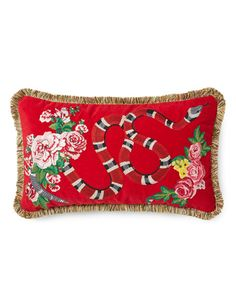Gucci Velvet Cushion With Kingsnake Embroidery In Red Velvet Funky Cushions, Velvet Cushions, Potli Bags, Gucci Gifts, Leather Pillow, Couture, Home Decor Furniture, Craft Gifts, Decoration