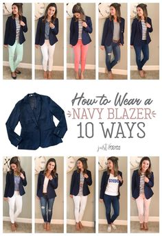 How to wear and style 1 navy knit blazer 10 different ways! Perfect to dress up . How to wear and style 1 navy knit blazer 10 different ways! Perfect to dress up or down! How to wear and style 1 navy knit blazer 10 differ. Navy Blazer Outfits, Look Blazer, Knit Blazer, Casual Work Outfits, Mode Outfits, Work Attire, Work Casual, Casual Looks, Fall Outfits
