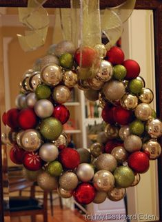 DIY wreath made from ornaments