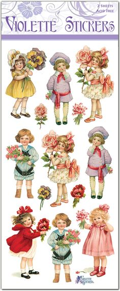 Bouquet Children Victorian Floral 2 Sheets of Stickers - holzarbeiten Paper Doll Craft, Doll Crafts, Paper Crafts, Paper Toys, Vintage Easter, Vintage Valentines, Paper Dolls Printable, Decoupage Printables, Free Printables