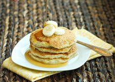 Gluten free Quinoa Pancakes  1 c cooked quinoa  3/4 cup gf flour mix  2 tbs sugar  11/2 ts baking powder  1/4 ts salt  3 egg whites  1/3 c milk  1 ts vanilla  2 large bananas ripe, pureed