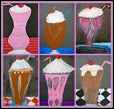 milkshakes pop art.  this would be great as a class project.  Each student designs their own, and then assemble