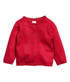 6-9 mo - Fine-knit cardigan in soft cotton fabric. Round neck and buttons at front.