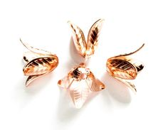 4 Rose Gold Plated Bead Caps by TreeChild1 on Etsy