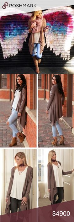 🆕Mocha Waterfall Cardigan🦋New Arrival🦋 Beautiful mocha waterfall cardigan. The perfect weight to transition into spring & the perfect drape to flatter every shape. Ultra soft blend of rayon & spandex provide a soft material w/ lots of stretch. Perfect to layer & wear over all the leggings in my closet (or anything else). Oversized, Misses fit❌No Trades❌No holds❌No PP Tops