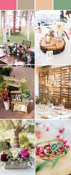 green and red rustic wedding color ideas