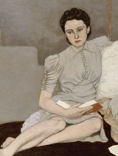 """peinture irlandaise UK : Louis le Brocquy, 1939, """"Girl in grey"""", gris pâle, 1930s, femme assise lisant"""
