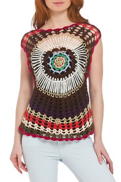 Aquablue Breezy Crochet Top in Coffee - Beyond the Rack $24.99