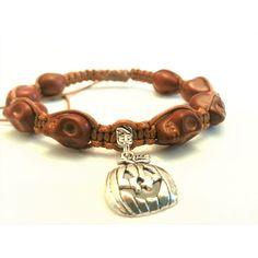 "Single Row Skull Bead Shamballa Bracelet with ""Jack-o'-lantern"" Charm,... ($20) ❤ liked on Polyvore featuring jewelry and bracelets"