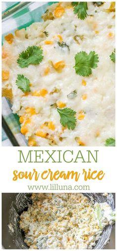 Rice Recipes, Mexican Food Recipes, Ethnic Recipes, Best Vegetarian Recipes, Dishes Recipes, Easy Delicious Recipes, Great Recipes, Favorite Recipes, Mexican Sour Cream