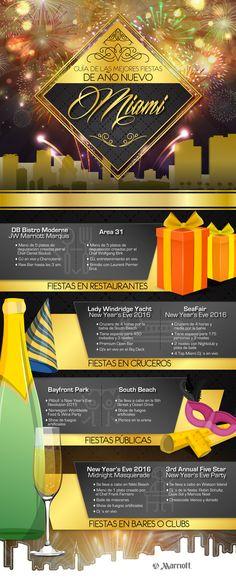Descubre en nuestra infografía por qué Miami es el destino que debes visitar si deseas comenzar bien un nuevo año y de paso conoce las mejores fiestas de Año Nuevo que tiene esta fascinante ciudad. #NewYearsEve #Party #Vacaciones #Marriott #HotelMarriott #Miami #Infographic #Travel #CountDown