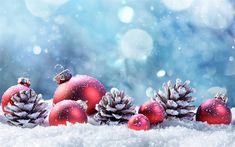 Nouvelle Année, l'hiver, 2018, la neige, rouge, boules de Noël, des cônes