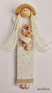 anielina: październik 2013 Clay Angel, Salt Dough Ornaments, Cold Porcelain, Clay Projects, Clay Creations, Art Dolls, Cross Stitch, Wings, Ceramics