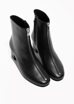 & Other Stories image 2 of Zip Leather Boots  in Black
