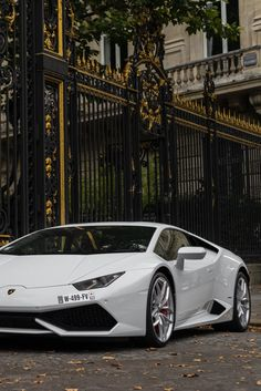 Lamborghini Huracan outside the gates of the Style Estate chateau in Europe.