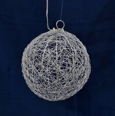 """Silver Wire Ball LED Light - 20 Warm White LED - 6"""""""