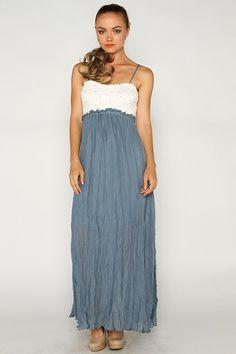 Cream and blue maxi dress