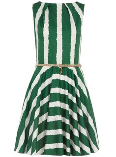 lady like dresses with an emphasis on the waist - Dorothy Perkins Green belted flared dress KD dress all the way! Pretty Outfits, Cute Outfits, Vestido Dress, Striped Dress, White Dress, Belted Dress, Green Dress, Green Belt, Dress Me Up
