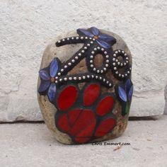 Smaller Pet Memorial Garden Stones - Mosaic Custom Order   Chris Emmert Mosaic & Design