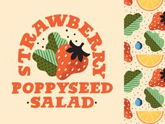 Panera Strawberry Poppyseed Salad designed by Mary Kate McDevitt. Connect with them on Dribbble; Motion Design, Panera Strawberry Poppyseed Salad, Label Design, Packaging Design, Design Thinking, Salad Design, Halloween Logo, Design Ios, Illustrations