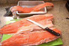Preparando o Salmão p/ o Sashimi