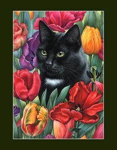 Cat by Irina Garmashova. Pretty Cats, Beautiful Cats, I Love Cats, Cute Cats, Black Cat Art, Black Cats, Cat Quilt, Cat Colors, Cat Drawing
