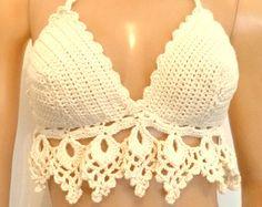 Lace bra Crochet bikini top yoga top crochet top boho by MarryG