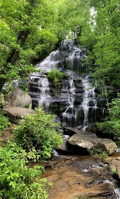 Such an incredibly beautiful waterfall just outside the Georgia state line in South Carolina. Well worth the effort to climb in and out to see this one up close and personal! Hiking In Georgia, Affordable Wall Art, Beautiful Moon, Beautiful Waterfalls, Narnia, South Carolina, Evergreen, Travel Ideas, Effort